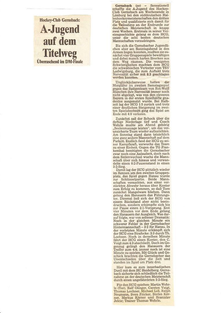 Hockey Zeitungsartikel
